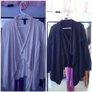 INC Asymmetrical open front sweater